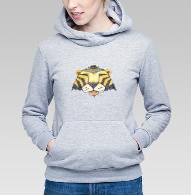 Тигр, Толстовка Женская серый меланж 340гр, теплая