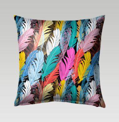 Разноцветные графические перья - Подушки с принтом