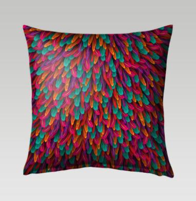 Разноцветные перья - Подушки с принтом