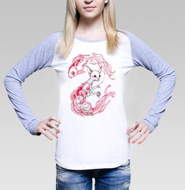 Кот и рыбки, Футболка женская с длинным рукавом бело-серая