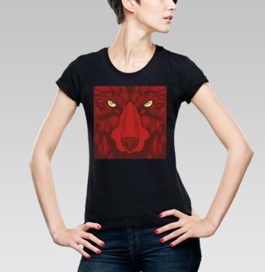 Квадратный волк, Футболка женская чёрная