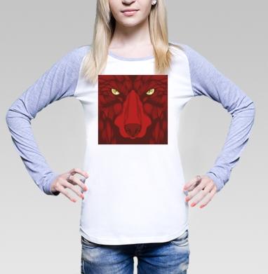 Квадратный волк, Футболка лонгслив женская бело-серая