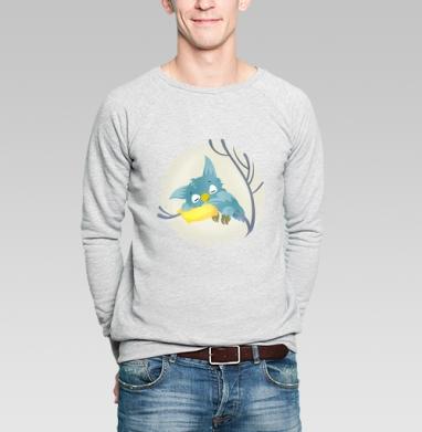 Спящая сова, Свитшот мужской серый-меланж  320гр, стандарт