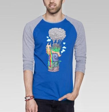 Эко-улитка - Футболка мужская с длинным рукавом синий / серый меланж, дым, Популярные