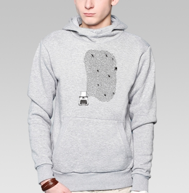 Печатная машинка  - Толстовка мужская, накладной карман серый меланж