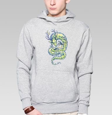 Лесной - Толстовка мужская, накладной карман серый меланж