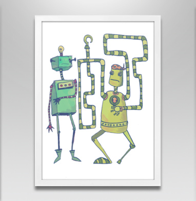 Роботы-пираты - Постер в белой раме, робот