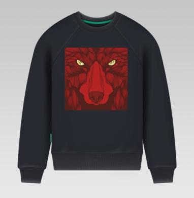 Квадратный волк - Свитшот мужской темн-синий 340гр, теплый, Популярные