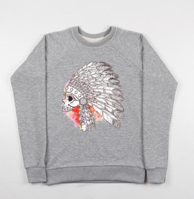 Индейский череп с перьями - Купить мужские свитшоты с акварелью в Москве, цена мужских свитшотов с акварелью  с прикольными принтами - магазин дизайнерской одежды MaryJane