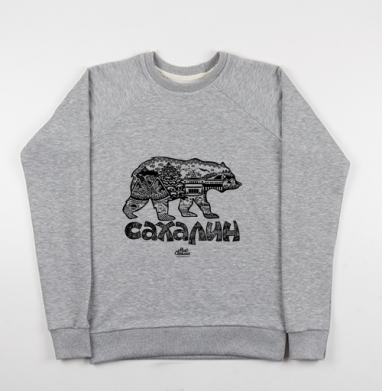 Свитшот мужской серый-меланж 240гр, тонкий - Сахалин. Медведь.