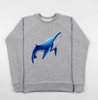 Синий кит, Свитшот мужской серый-меланж 240гр, тонкий