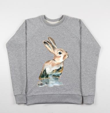 Акварельный кролик - Купить детские свитшоты с природой в Москве, цена детских свитшотов с природой  с прикольными принтами - магазин дизайнерской одежды MaryJane