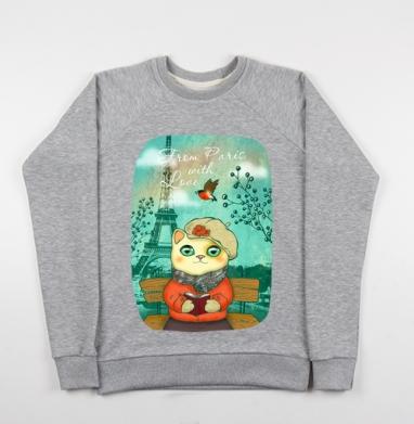 Из Парижа с любовью - Купить детские свитшоты с кошками в Москве, цена детских свитшотов с кошками  с прикольными принтами - магазин дизайнерской одежды MaryJane