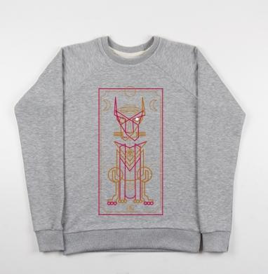 Метафизический кот - Cвитшот женский серый-меланж 340гр, теплый, психоделика, Популярные