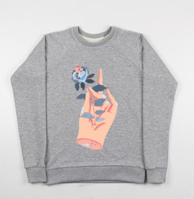 Рука с цветком - Купить детские свитшоты с черепом в Москве, цена детских свитшотов с черепом  с прикольными принтами - магазин дизайнерской одежды MaryJane