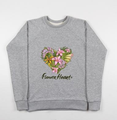 Сердце из тропических растений - Купить детские свитшоты серые в Москве, цена детских свитшотов серых с прикольными принтами - магазин дизайнерской одежды MaryJane