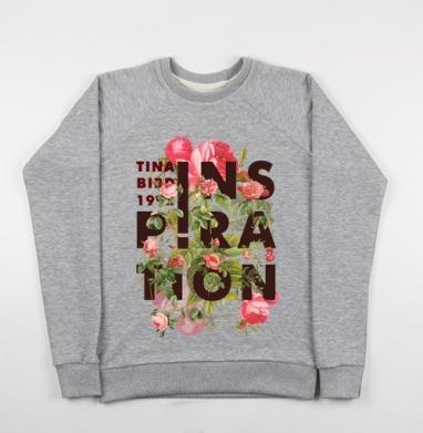 Вдохновение. - Cвитшот женский серый-меланж 340гр, теплый, Популярные