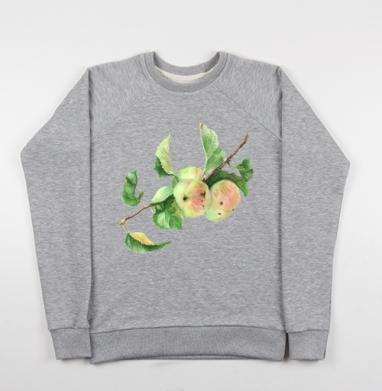 Ветка с яблоками - Купить детские свитшоты с акварелью в Москве, цена детских свитшотов с акварелью  с прикольными принтами - магазин дизайнерской одежды MaryJane