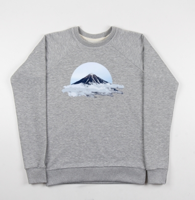 Вулкан в облаках - Купить мужские свитшоты с горами в Москве, цена мужских свитшотов с горами с прикольными принтами - магазин дизайнерской одежды MaryJane