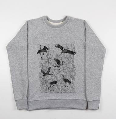 Черные журавли - Купить детские свитшоты с деревьями в Москве, цена детских свитшотов с деревьями  с прикольными принтами - магазин дизайнерской одежды MaryJane