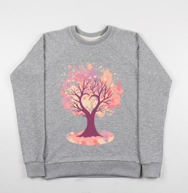 Дерево-сердце, Cвитшот женский серый-меланж 340гр, теплый