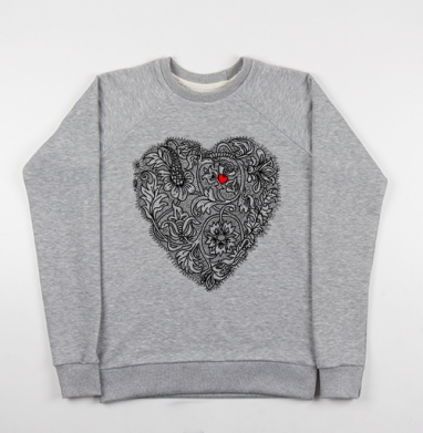 Два сердца вместе - Cвитшот женский серый-меланж 340гр, теплый, психоделика, Популярные