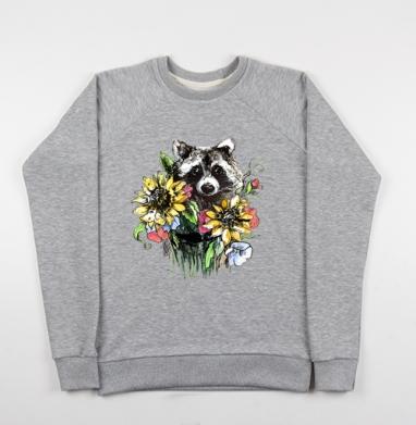Енот цветочный - Купить детские свитшоты с животными в Москве, цена детских свитшотов с животными  с прикольными принтами - магазин дизайнерской одежды MaryJane