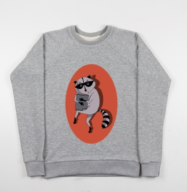 Енот ворует коврик - Купить детские свитшоты с животными в Москве, цена детских свитшотов с животными  с прикольными принтами - магазин дизайнерской одежды MaryJane