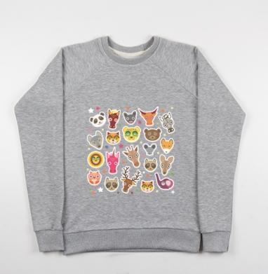 Животные панда олень жираф зебра слон лев кот волк лошадь лиса енот - Купить детские свитшоты с кошками в Москве, цена детских свитшотов с кошками  с прикольными принтами - магазин дизайнерской одежды MaryJane
