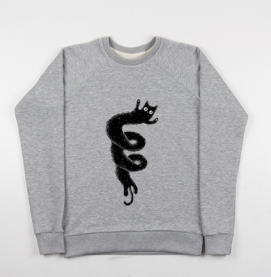 Cвитшот женский серый-меланж 340гр, теплый - Кошковихрь