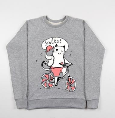 Котейка с приветом) - Купить детские свитшоты с велосипедом в Москве, цена детских свитшотов с велосипедом с прикольными принтами - магазин дизайнерской одежды MaryJane