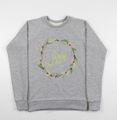 Надежда, Cвитшот женский серый-меланж 340гр, теплый