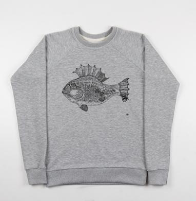 Панк рыба, Cвитшот женский серый-меланж 340гр, теплый