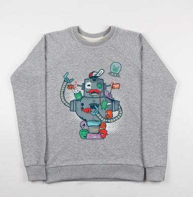 Робот с друзьями - Купить детские свитшоты с роботами в Москве, цена детских свитшотов с роботами с прикольными принтами - магазин дизайнерской одежды MaryJane