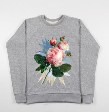 Розовая роза на геометрическом фоне - Купить детские свитшоты с роами в Москве, цена детских свитшотов с розой с прикольными принтами - магазин дизайнерской одежды MaryJane