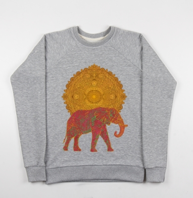 Слон, несущий Солнце - Купить детские свитшоты с солнцем в Москве, цена детских свитшотов с солнцем с прикольными принтами - магазин дизайнерской одежды MaryJane