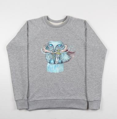 Снежный мамонт - Cвитшот женский серый-меланж 340гр, теплый, Популярные