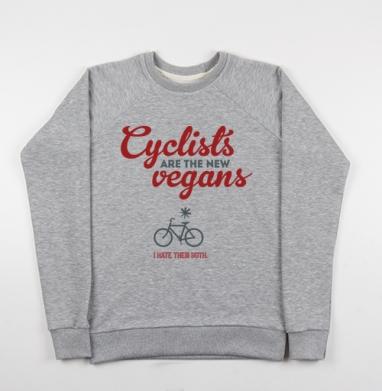 Велосипедисты - новые веганы - Купить детские свитшоты с велосипедом в Москве, цена детских свитшотов с велосипедом с прикольными принтами - магазин дизайнерской одежды MaryJane