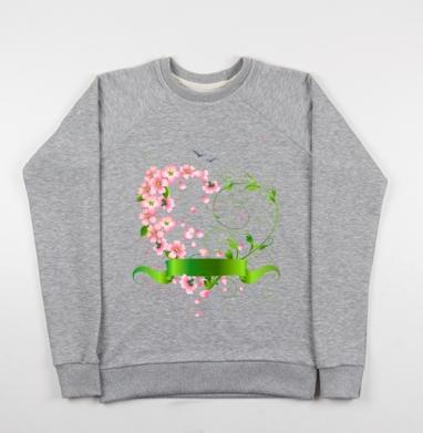 Весеннее сердце из цветов яблони - Купить детские свитшоты с природой в Москве, цена детских свитшотов с природой  с прикольными принтами - магазин дизайнерской одежды MaryJane