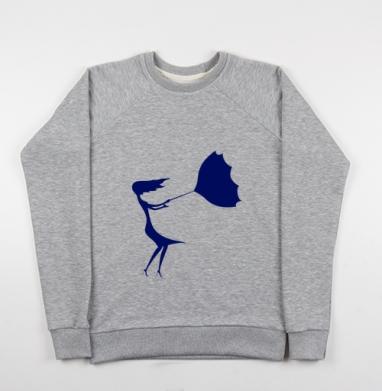 Cвитшот женский серый-меланж 340гр, теплый - Fragile