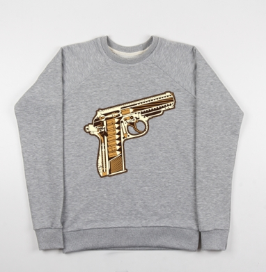 Gun - Cвитшот женский серый-меланж 340гр, теплый, мужские, Популярные