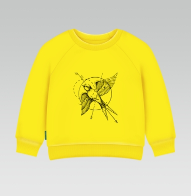 Ласточка в стиле тату, Cвитшот Детский желтый 240гр, тонкая
