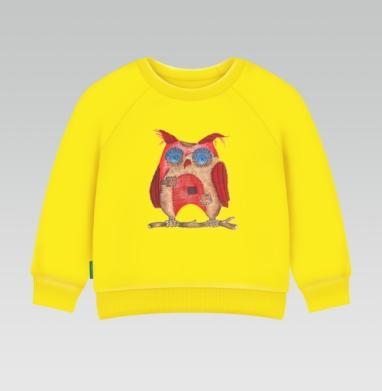Лоскутная сова - Cвитшот Детский желтый 240гр, тонкая, Новинки