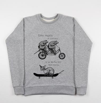 Медведи и кот - Купить детские свитшоты с велосипедом в Москве, цена детских свитшотов с велосипедом с прикольными принтами - магазин дизайнерской одежды MaryJane
