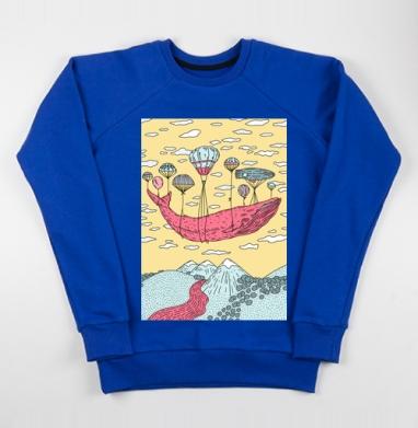 Парящий кит - Cвитшот женский, синий 320гр, стандарт, Популярные