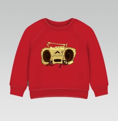 Cвитшот Детский ярко-красный 240гр, тонкий - Череп магнитофона