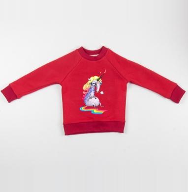 Единорог в тату - Cвитшот Детский красный 340гр, теплый, Популярные