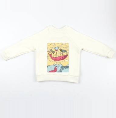 Парящий кит - Cвитшот Детский Экрю 320гр, стандарт, Популярные