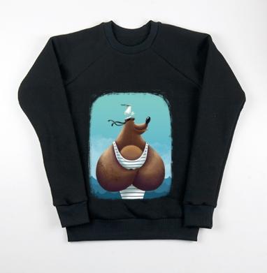 Свитшот мужской черный 340гр, теплый, чёрный - Интернет магазин футболок №1 в Москве