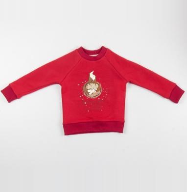 Любовь не имеет границ ...Как и вселенная  - Cвитшот Детский красный 340гр, теплый, Популярные